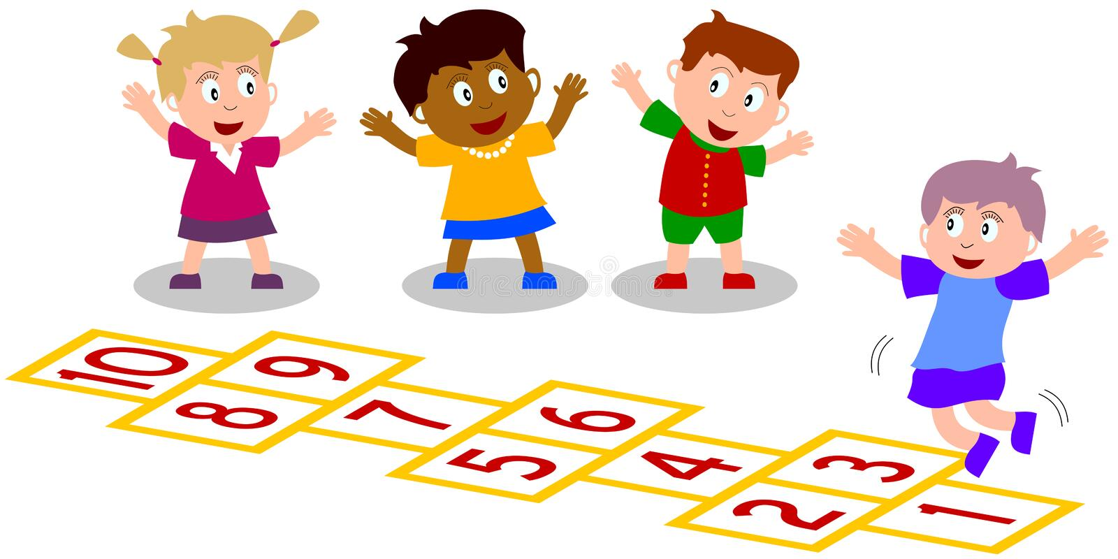 Kids Playing - Hopscotch. Four kids (isolated on white background) playing hopscotch. You can find other sports in my portfolio royalty free illustration