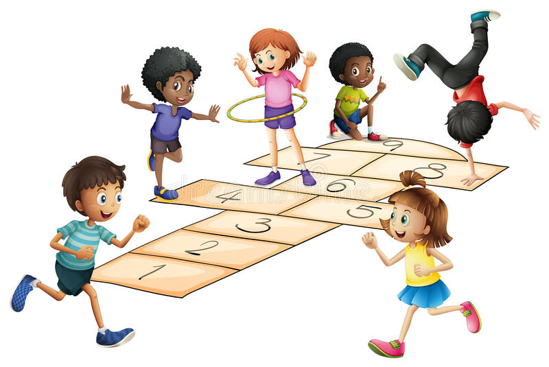 Kids playing hopscotch in the field royalty free illustration