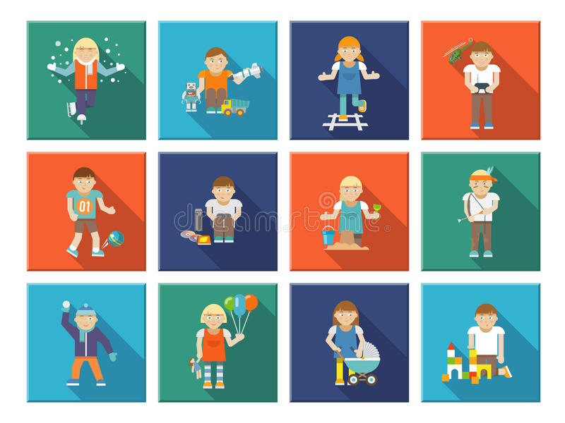 Kids Playing Icons royalty free illustration