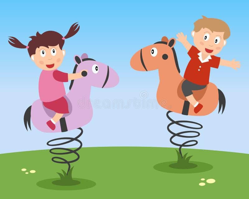 Kids Playing on Kiddie Rides stock photos
