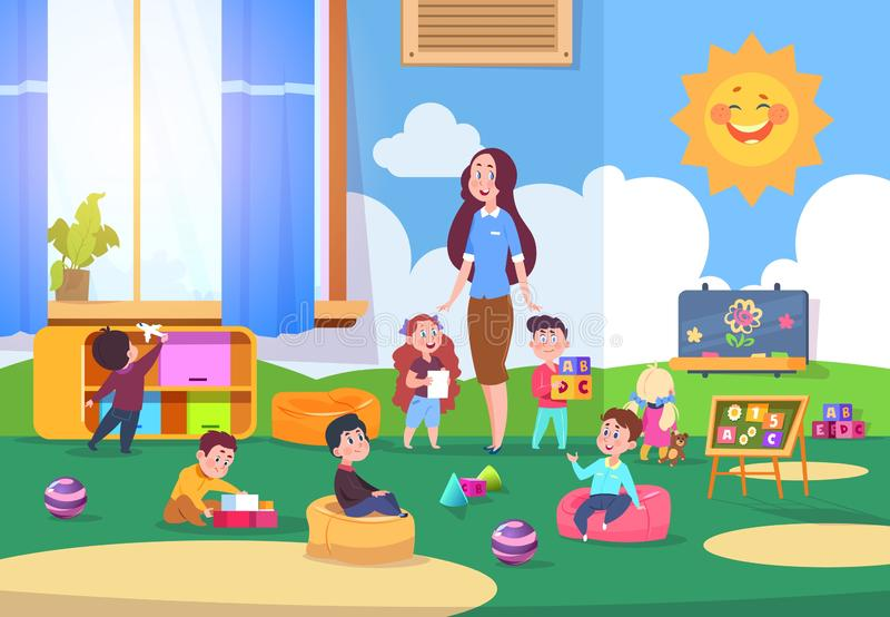 Kids playing kindergarten class. Cute children learning in classroom with teacher. Kinders preparing to school. Vector royalty free illustration