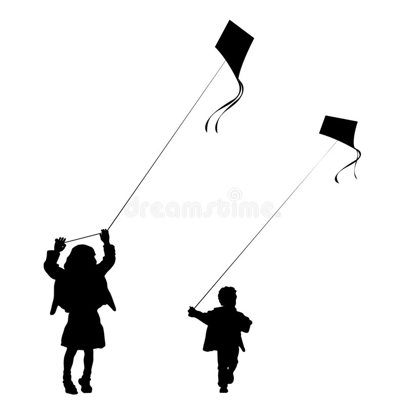 Download Kids Playing With Kites Silhouette Stock Vector - Image: 8422207