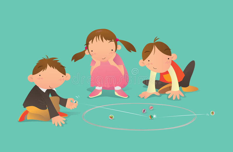 Kids playing Marbles game vector illustration