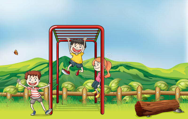 Kids playing monkey bar and a dry wood royalty free illustration