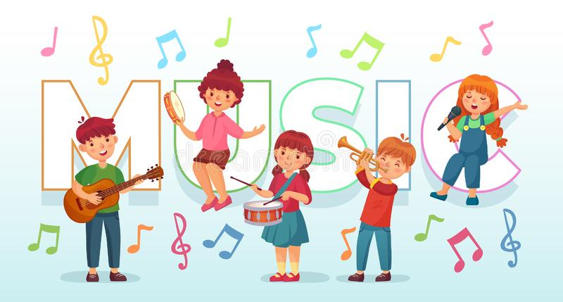 Kids playing music. Children musical instruments, baby band musicians and dancing kid singing or playing guitar vector vector illustration