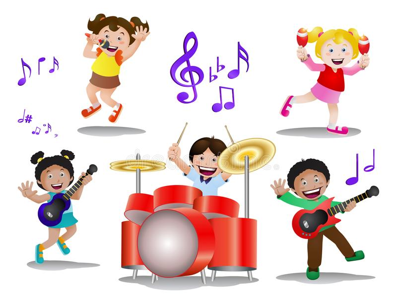 Kids playing music instrument on isolated. Illustration of kids playing music instrument on isolated white background royalty free illustration