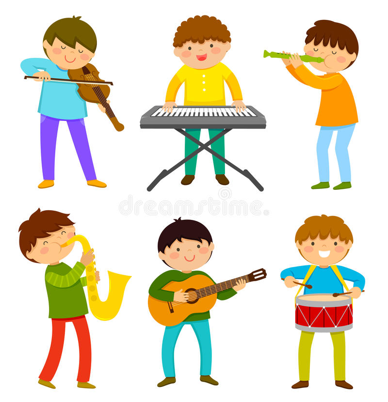 Kids playing music. Set of kids playing musical instrument vector illustration