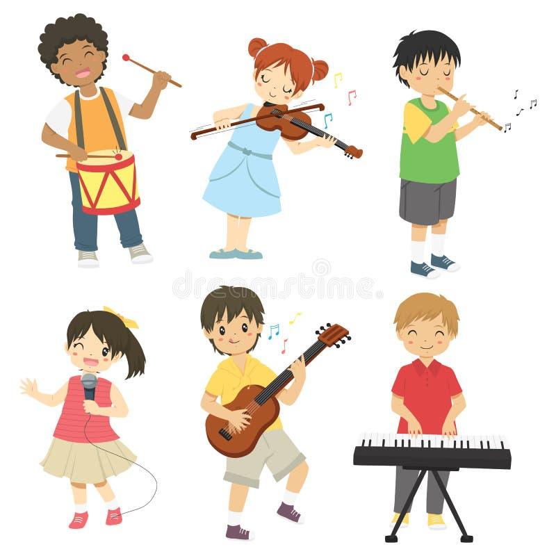 Kids Playing Music Vector Set royalty free stock photo