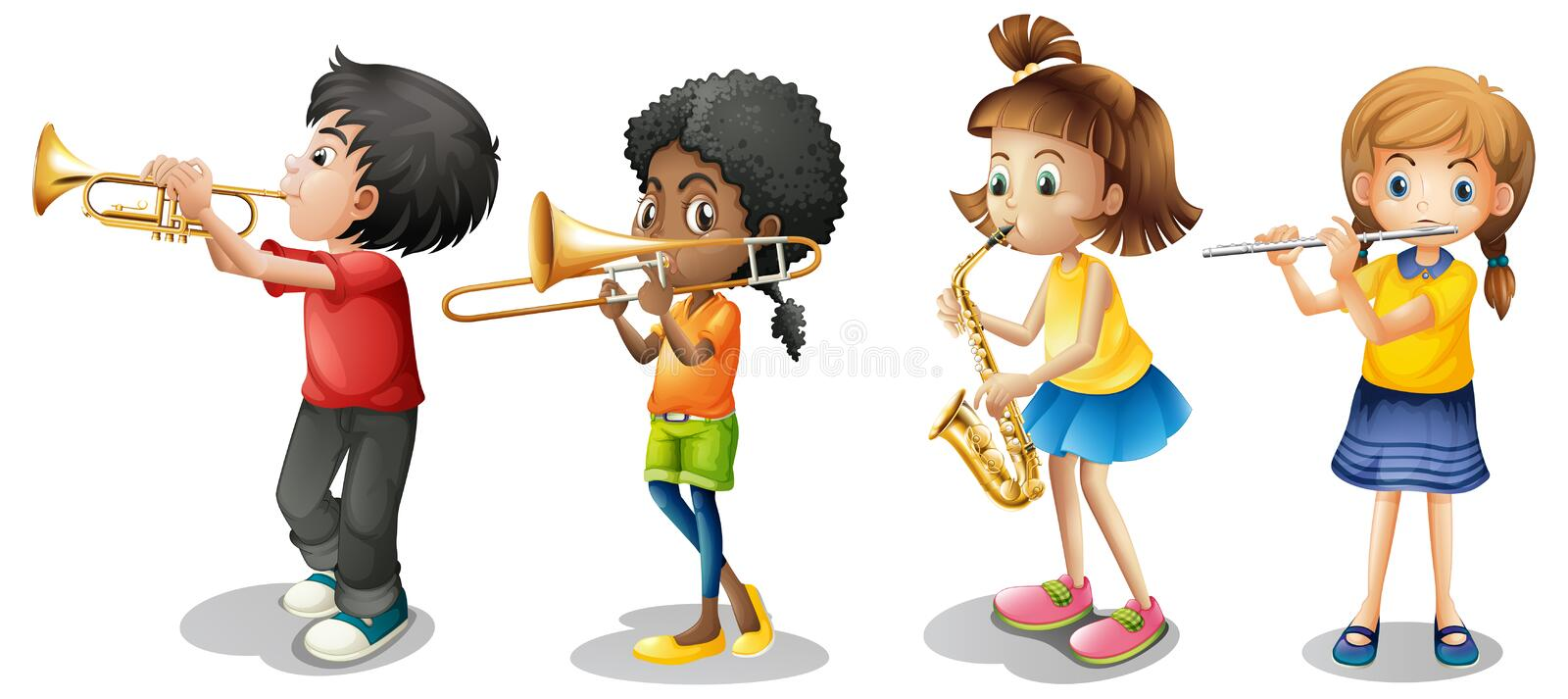 Kids playing musical instruments. Illustration vector illustration