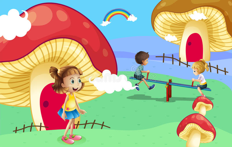 Download Kids Playing Near The Giant Mushroom Houses Stock Vector - Image: 32941323