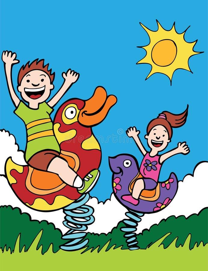 Free Kids Playing On Park Rides Stock Photo - 9584850
