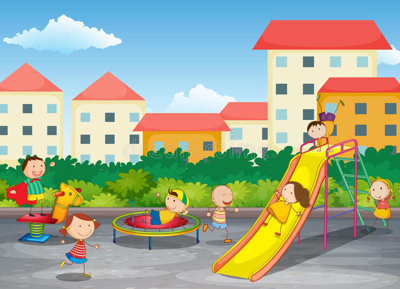Download Kids playing outdoor stock illustration. Image of slide - 27330741