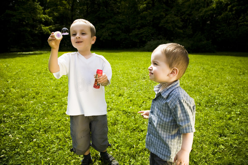 Download Kids Playing Outdoors stock image. Image of bubbles, leisure - 5527705