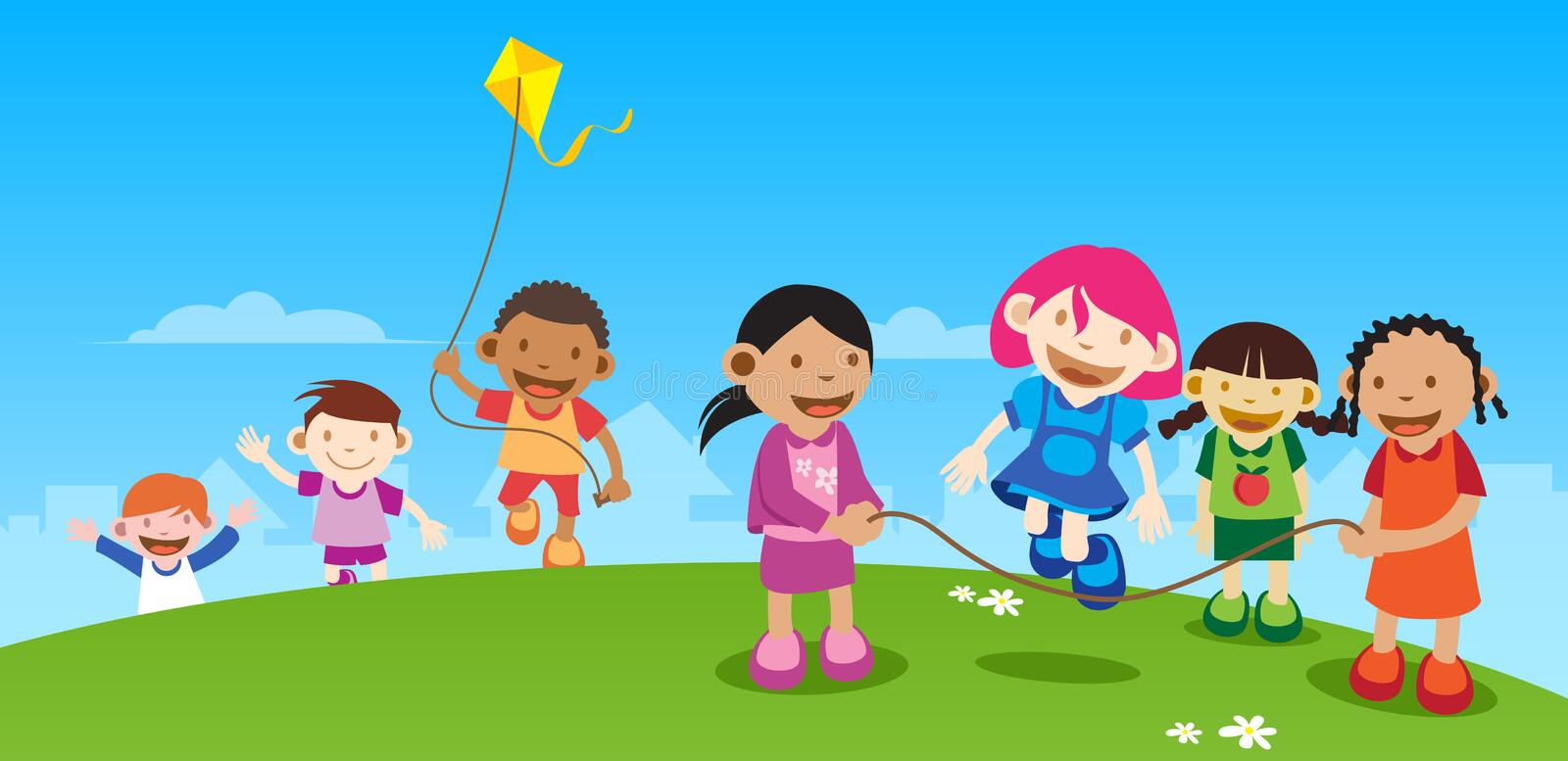 Kids Playing outside vector illustration