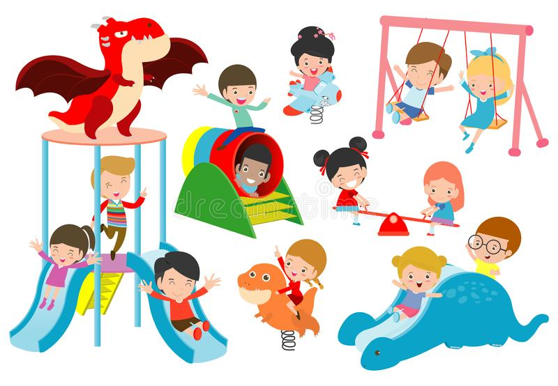 Kids playing Outside, child playing at playground,happy children playing park Vector illustration. royalty free illustration