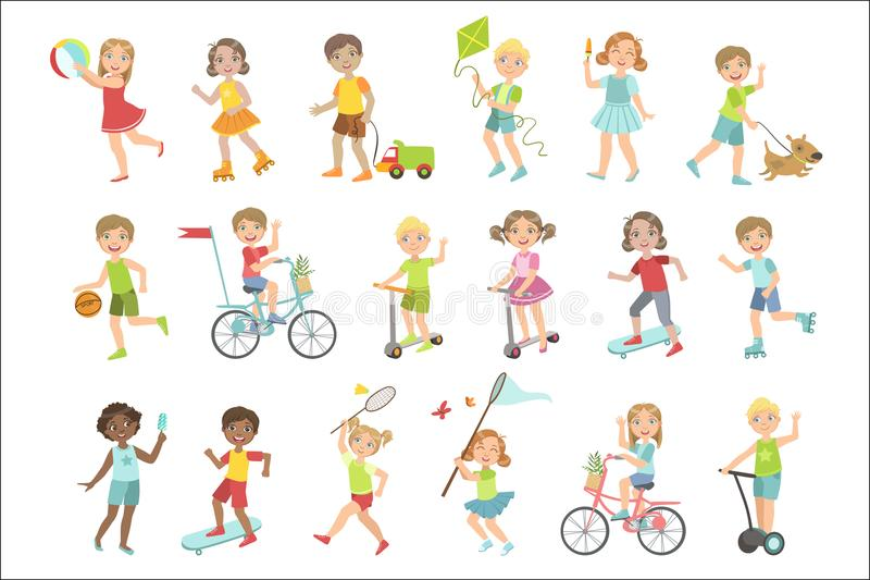 Kids Playing Outside Set. Of Simple Design Illustrations In Cute Fun Cartoon Style Isolated On White Background stock illustration