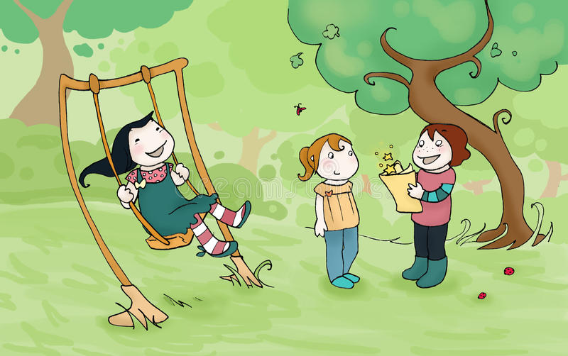 Download Kids playing in the park stock illustration. Image of fantastic - 11837690