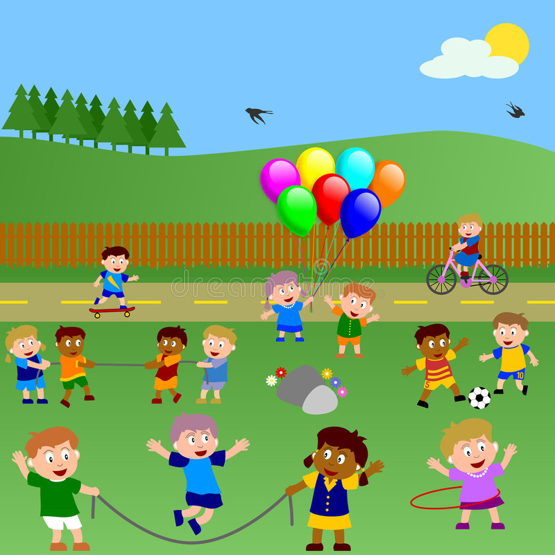 Kids Playing in the Park stock illustration