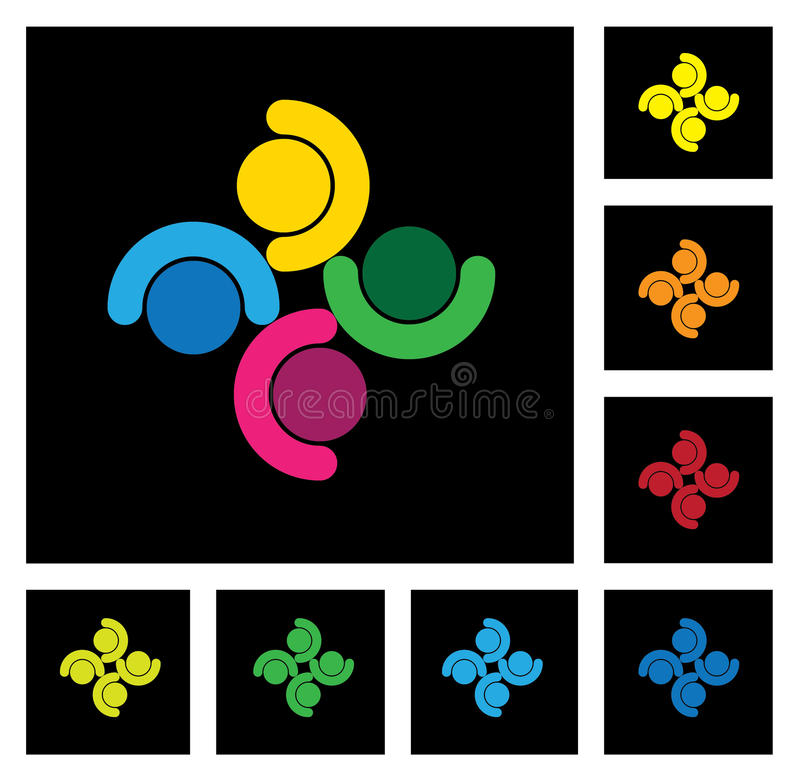 Kids playing, people group & community vector icons set stock illustration