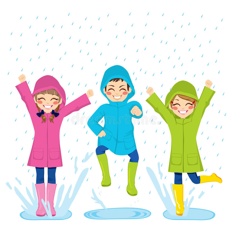 Kids Playing On Puddles stock illustration