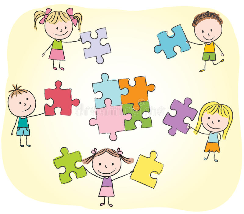 Kids playing with puzzle vector illustration