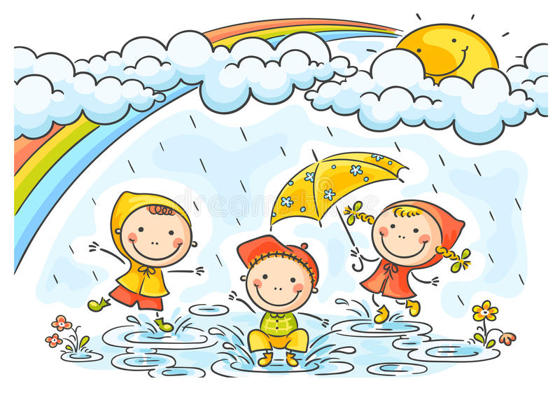 Kids playing in the rain stock illustration