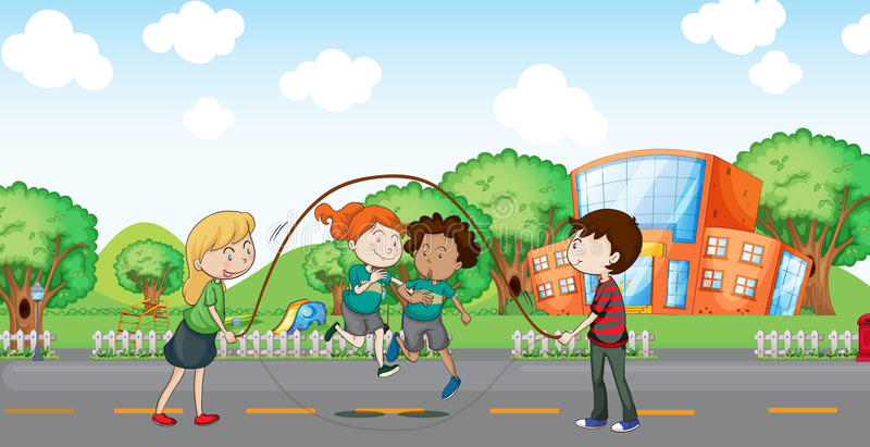 Kids playing at the road. Illustration of the kids playing at the road royalty free illustration