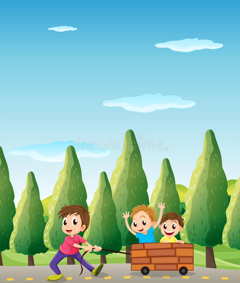 Kids playing at the road with pine trees. Illustration of the kids playing at the road with pine trees stock illustration