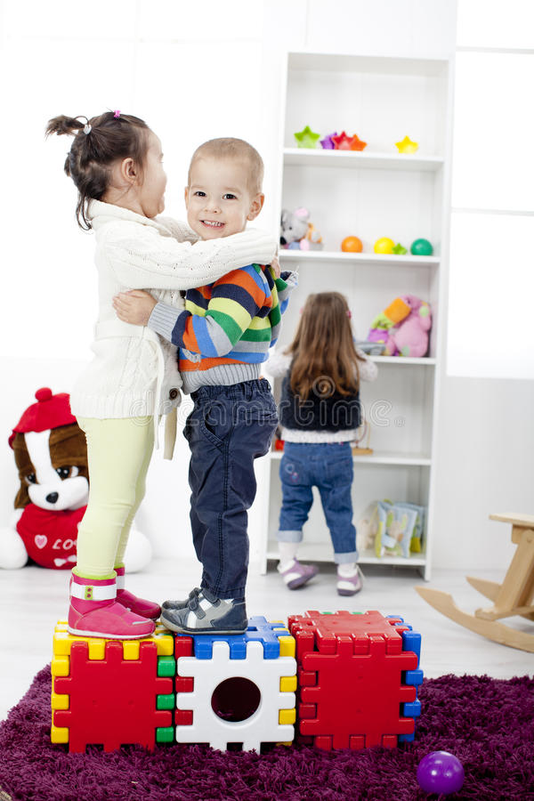 Kids playing in the room royalty free stock photos