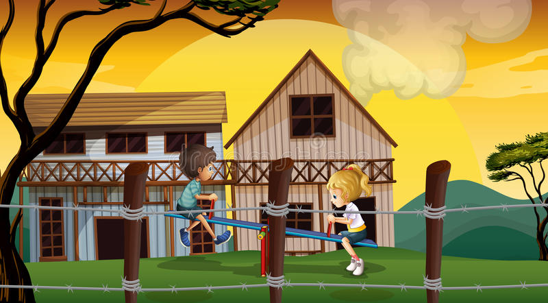 Download Kids Playing Seesaw In Front Of The Wooden Barnhouses Stock Vector - Illustration of girl, barbwire: 35321872