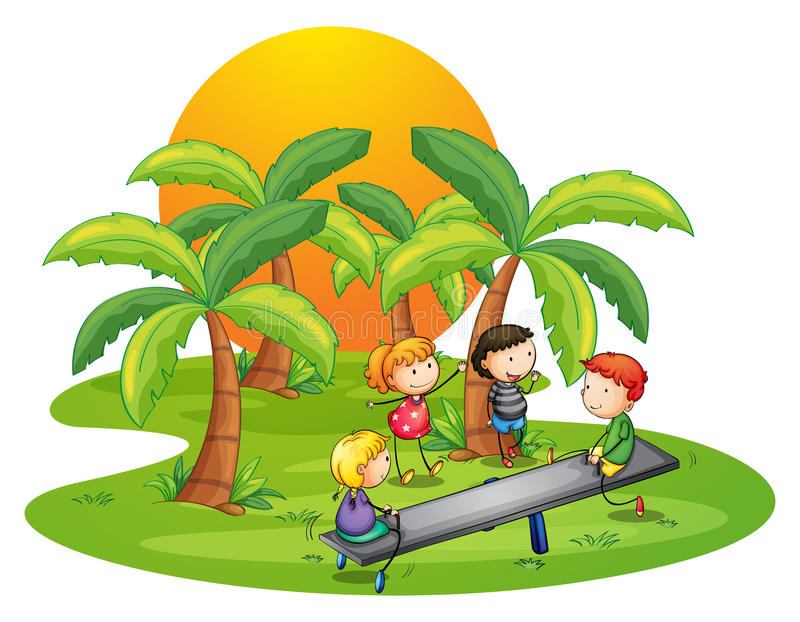 Kids playing seesaw near the coconut trees stock illustration