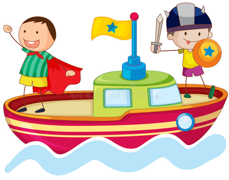 Download Kids playing on ship stock vector. Image of background - 26941996
