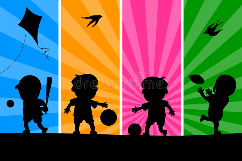 Kids Playing Silhouettes [1]. Four cartoon kids silhouettes playing different sports, on a funky and colorful background. Eps file available stock illustration