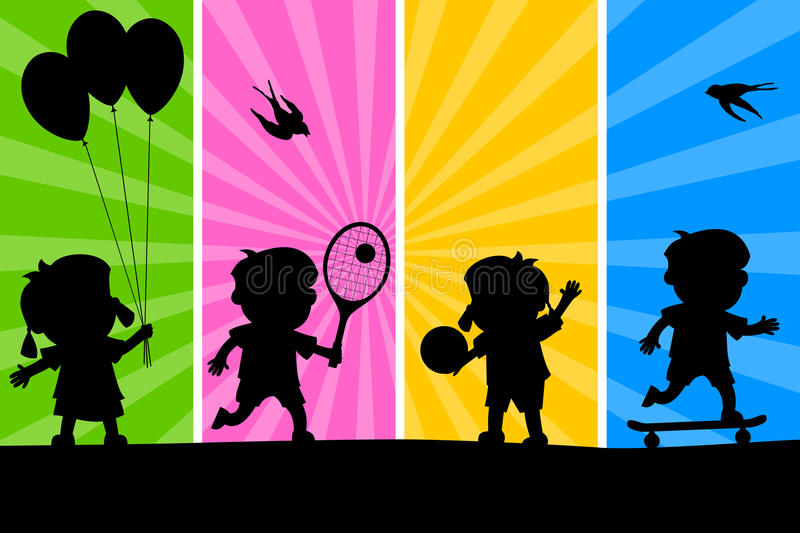 Kids Playing Silhouettes [2]. Four cartoon kids silhouettes playing different sports, on a funky and colorful background. Eps file available