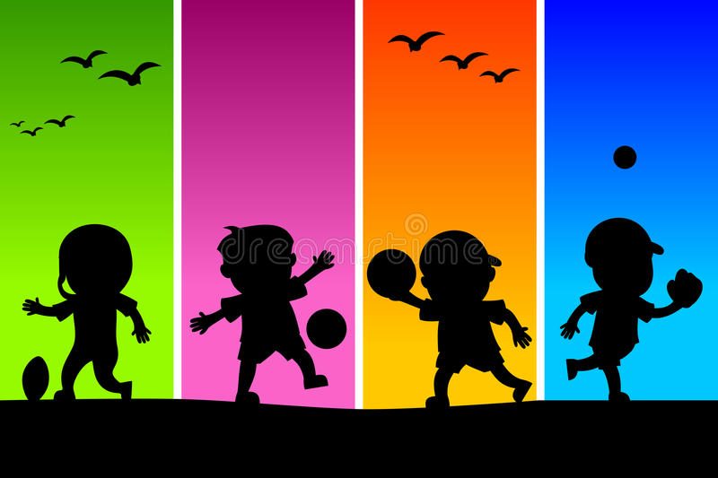 Kids Playing Silhouettes [3]. Four cartoon kids silhouettes playing different sports, on a funky and colorful background. Eps file available royalty free illustration