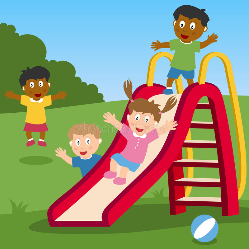 Kids Playing on the Slide. A group of multicultural kids playing on a slide in a park. Eps file available royalty free illustration