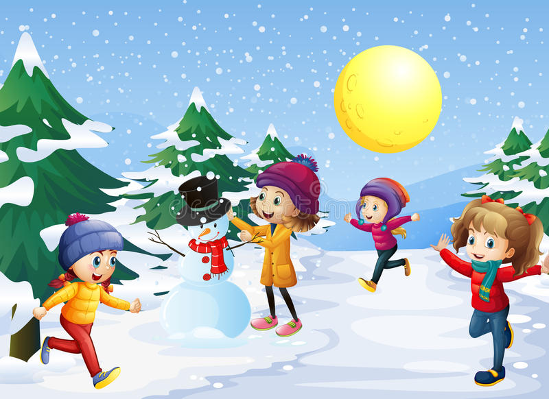 Kids playing in the snow on christmas royalty free illustration