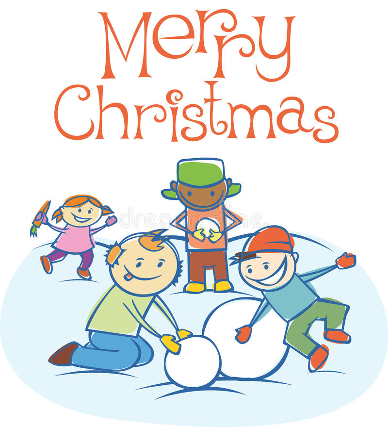 Download Kids Playing Snowballs On Xmas Stock Vector - Image: 16973495