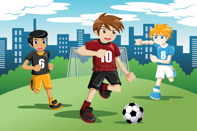 Kids playing soccer. A vector illustration of happy kids playing soccer stock illustration