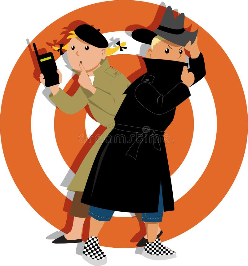 Kids playing spies. Little kids playing secret agents cartoon characters, EPS 8 vector illustration royalty free illustration