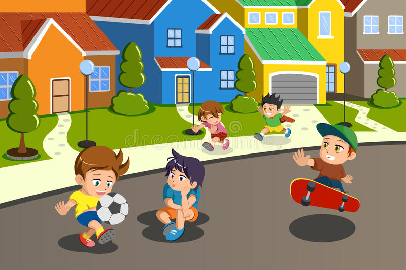 Download Kids Playing In The Street Of A Suburban Neighborhood Stock Vector - Image: 34144342