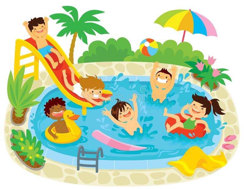Kids Playing in a Swimming Pool. Kids having fun in a swimming pool with a water slide and floaties vector illustration