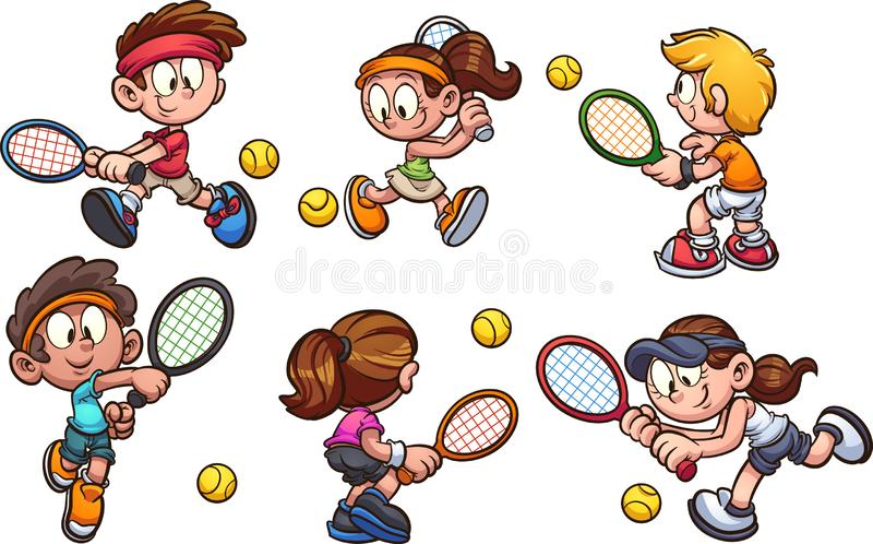 A group of cartoon kids playing tennis. Cartoon kids playing tennis clip art. Vector illustration with simple gradients. Each on a separate layer vector illustration