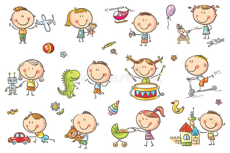Kids Playing with Toys. Funny sketchy kids playing with different toys like dolls, a robot, a dinosaur, a plane and others. No gradients used, easy to print and stock illustration