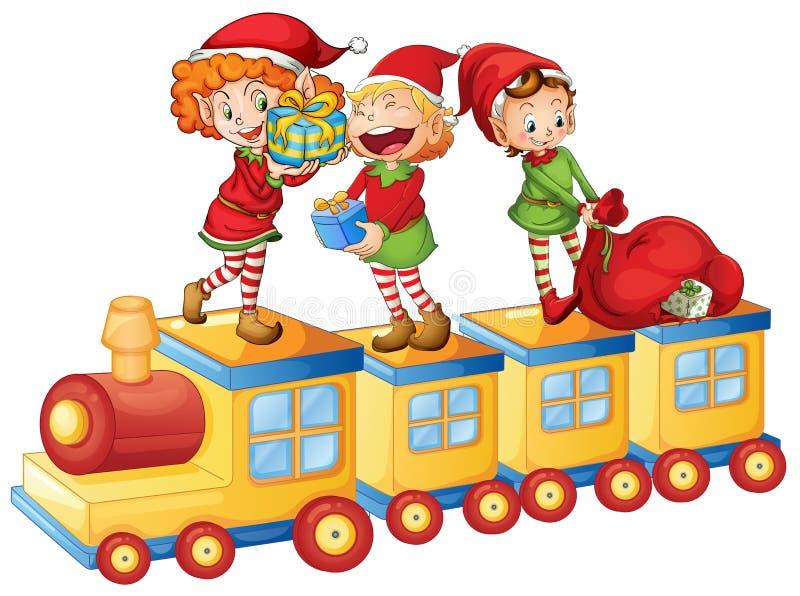 Kids playing on train