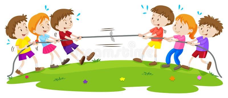 Kids playing tug of war at the park. Illustration vector illustration