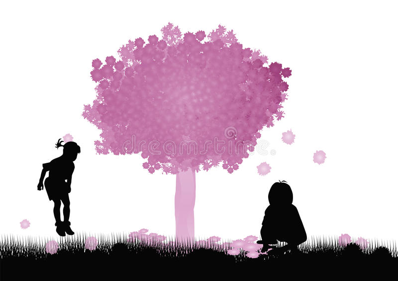 Kids playing under the tree stock illustration