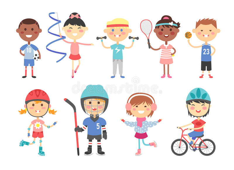 Kids playing various sports games such us hockey, football, gymnastics, fitness, tennis, basketball, roller skating royalty free illustration