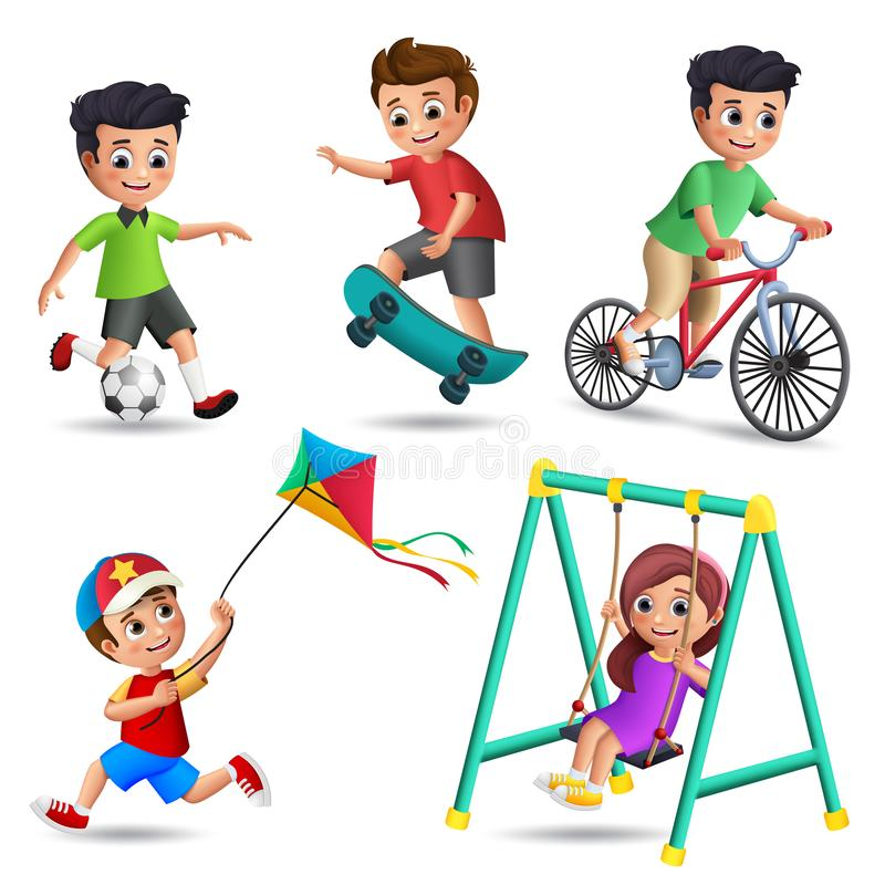 Kids playing vector characters set. Young boys and girls happy playing outdoor activities and sports vector illustration