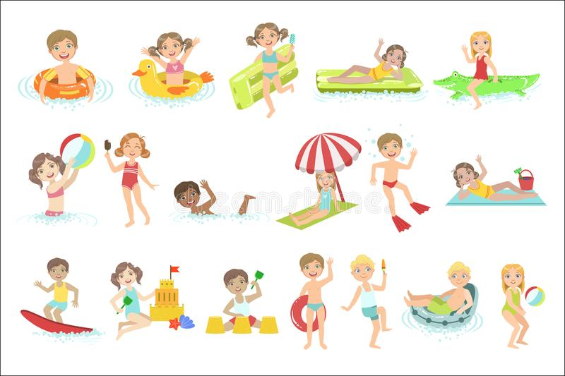 Kids Playing In the Water Set royalty free illustration